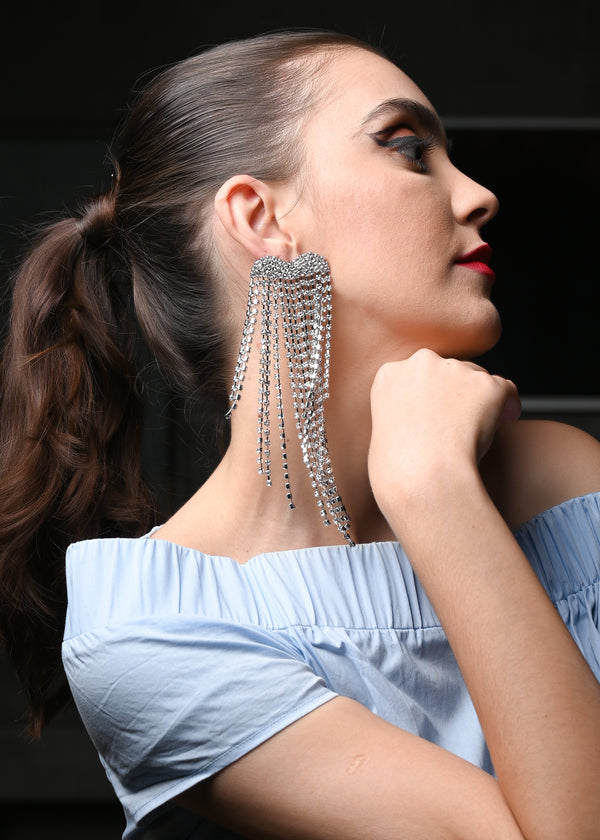 Fancy Silver Rhinestone Dangle Earrings