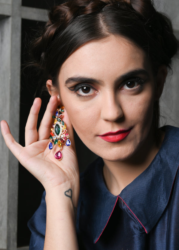 Ornamented Multi-coloured Dangle Earrings