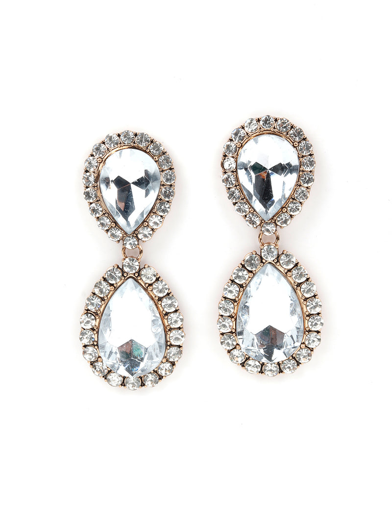 Oval Shaped Double Layer White Rhinestone Earring