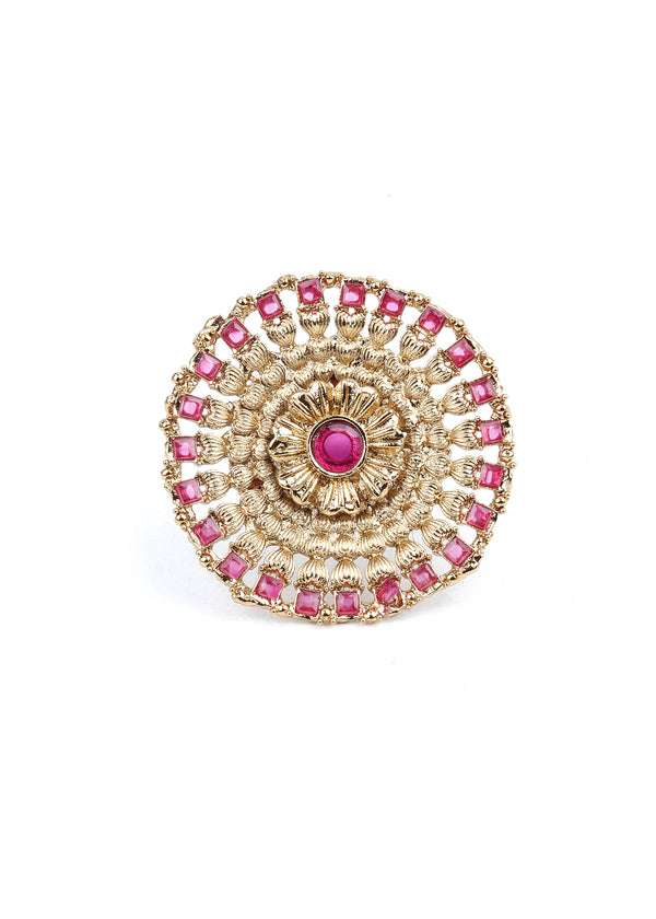 Traditional Round Pink and Gold Platted Ring