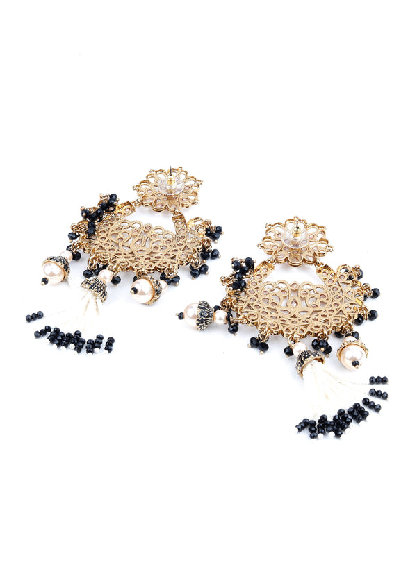 Gold and Black Rhinestone Dangle Earrings