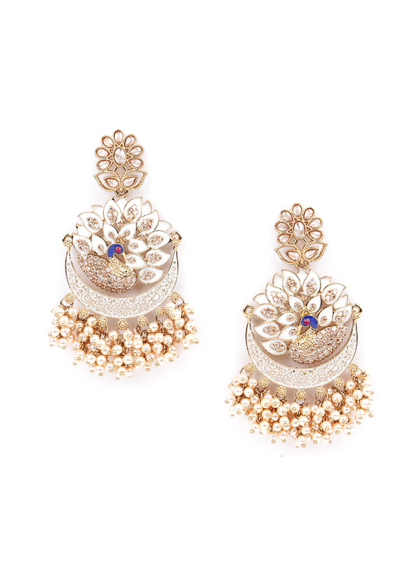 Gold and White Ethnic Cutwork Dangle Earrings