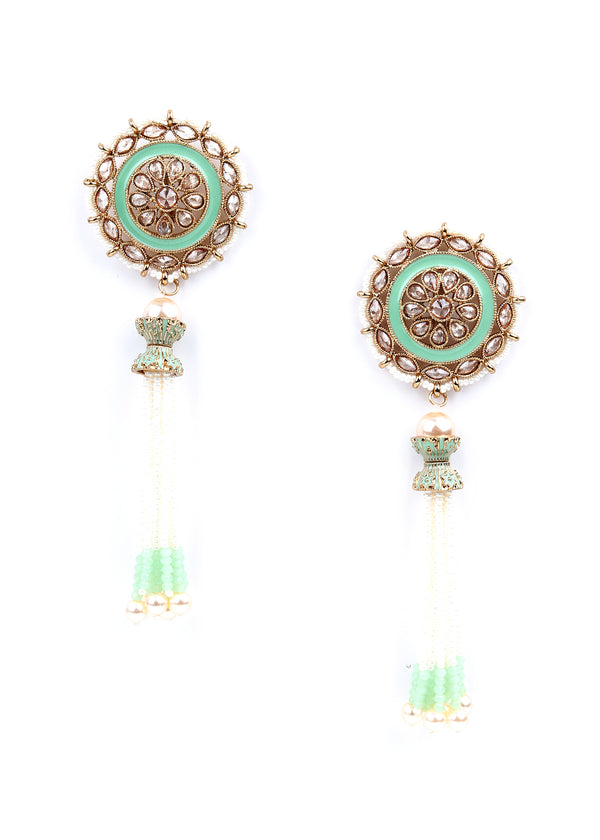 Mint and Gold Ethnic Dangle Earrings