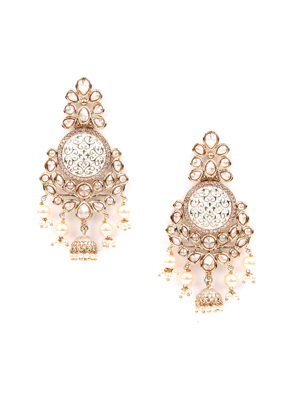 Ethnic Gold Rhinestone Dangle Earrings