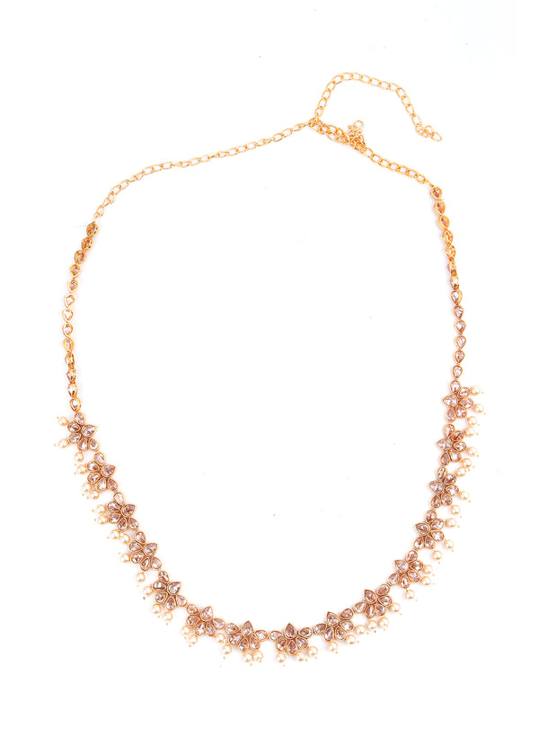 Gold and Pearl Coloured Rhinestone Necklace