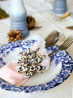 Handmade Black And White Floral Ringlet Napkin Ring set of 2