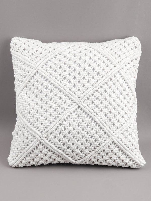 White Boho Crochet Cushion Cover