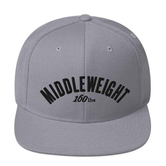 MIDDLEWEIGHT Classic Snapbacks by Boxing Aficionado - Silver/Black