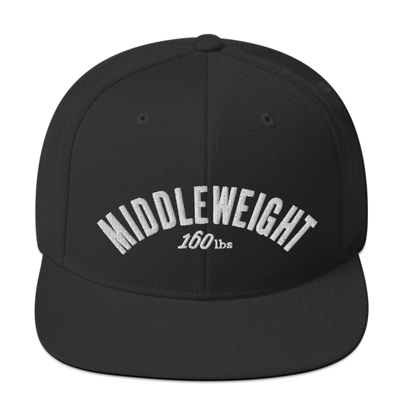 MIDDLEWEIGHT Classic Snapbacks by Boxing Aficionado - Black/White