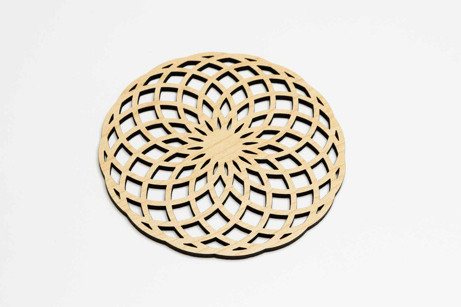 Geometric Flower Wood Coaster