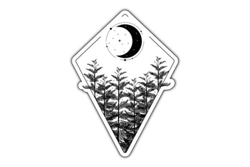 minimal sticker with moon and tree design