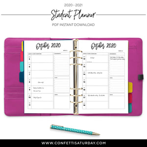 Student Planner Pages 2020-2021-Confetti Saturday