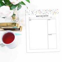 Load image into Gallery viewer, Meeting Planner Page, Simplified | Signature Confetti