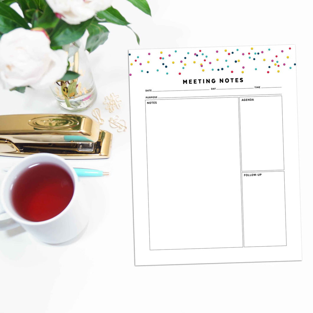 Meeting Planner Page, Simplified | Signature Confetti