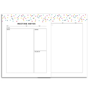 Printable-Meeting Planner Page, Simplified | Signature Confetti-Rings and Disc Planner-Confetti Saturday