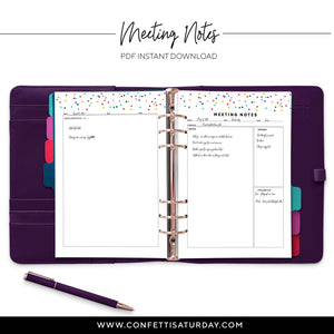 Meeting Planner Pages-Confetti Saturday