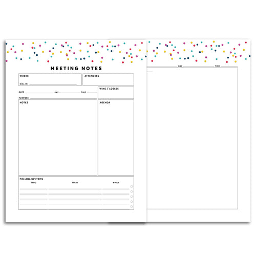 Printable-Meeting Planner Page, Detailed | Signature Confetti-Rings and Disc Planner-Confetti Saturday