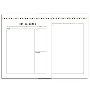 Meeting Planner Page, Simplified | Signature Stripe