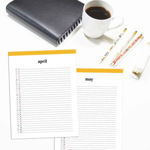2020 Monthly List Planner | Classic-Rings and Disc Planner-Confetti Saturday