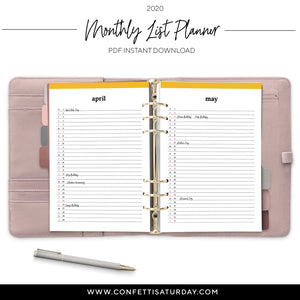 2020 Monthly List Planner Refill-Confetti Saturday