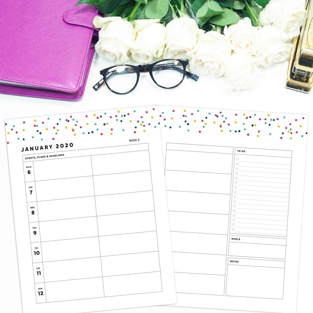 2020 Weekly Planner, 3 Column WO2P | Signature Confetti