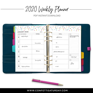 Weekly Planner Refill, Wo2P-Confetti Saturday