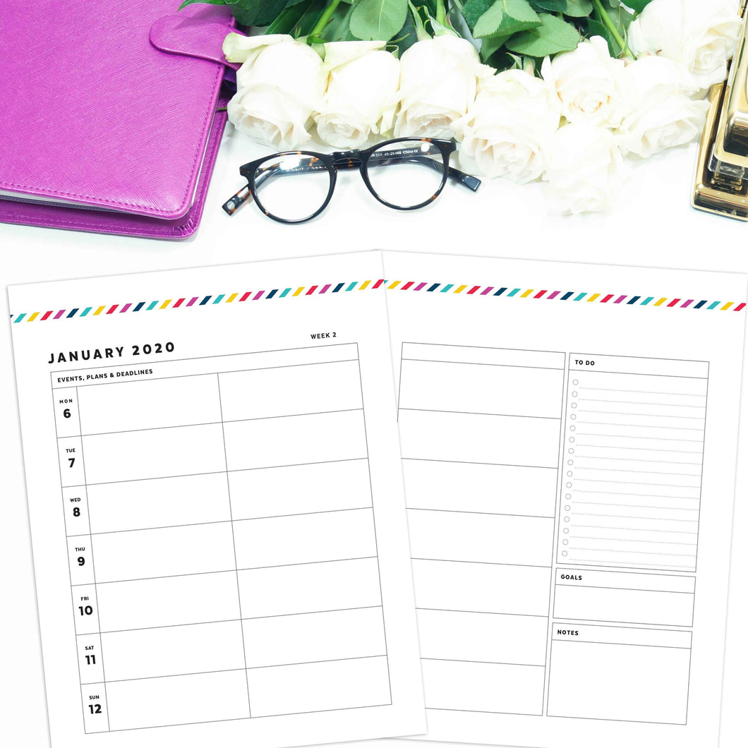 2020 Weekly Planner, 3 Column WO2P | Signature Stripe
