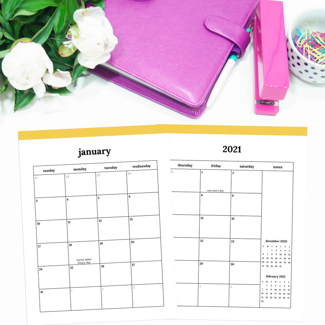 2021 Monthly Calendars, MO2P | Classic-Rings and Disc Planner-Confetti Saturday