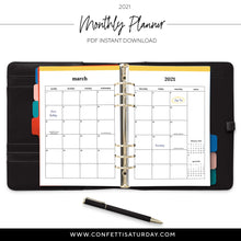 Load image into Gallery viewer, Monthly Planner Printable Calendar 2021-Confetti Saturday