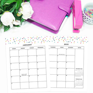 2021 Monthly Calendars, MO2P | Signature Confetti