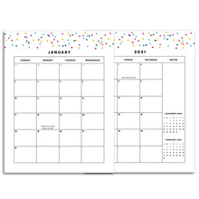 Load image into Gallery viewer, Printable-2021 Monthly Calendars, MO2P | Signature Confetti-Rings and Disc Planner-2021 monthly calendar planner pages to insert into any ring or disc bound planner system. 28 pages.-Confetti Saturday