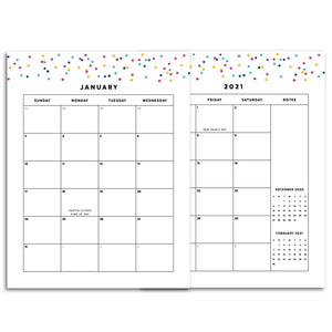 Printable-2021 Monthly Calendars, MO2P | Signature Confetti-Rings and Disc Planner-2021 monthly calendar planner pages to insert into any ring or disc bound planner system. 28 pages.-Confetti Saturday