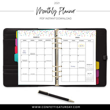 Load image into Gallery viewer, 2021 Monthly Planner, Month on 2 Pages Calendar-Confetti Saturday