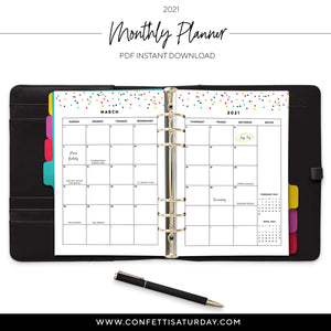 2021 Monthly Planner, Month on 2 Pages Calendar-Confetti Saturday