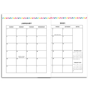 2021 Monthly Calendars, MO2P | Signature Stripe
