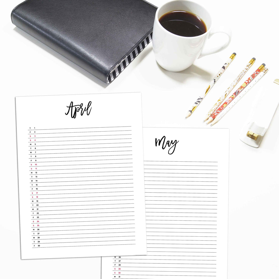 2021 Monthly List Planner Inserts | City