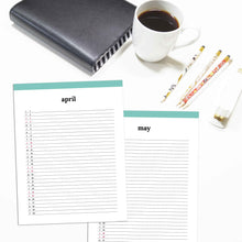 Load image into Gallery viewer, 2021 Monthly List Planner | Classic-Rings and Disc Planner-Confetti Saturday