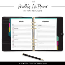 Load image into Gallery viewer, Monthly List Planner, 2021 Pages-Confetti Saturday