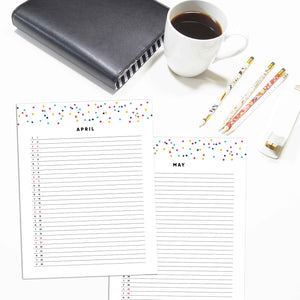 2021 Monthly List Planner | Signature Confetti