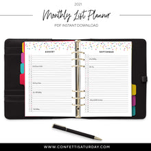 Load image into Gallery viewer, Monthly Planner 2021 Printable-Confetti Saturday