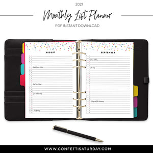 Monthly Planner 2021 Printable-Confetti Saturday