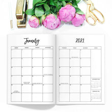 Load image into Gallery viewer, 2021 Monthly Planner TN-Travelers Notebook-2021 monthly calendar tn. Printable or printed. 10 different sizes, including A5, Half Sheet, Passport, Personal, Pocket, Micro, A6, B6, Cahier, and Standard.-Confetti Saturday