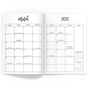 2021 Monthly Planner TN-Travelers Notebook-Confetti Saturday