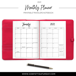 2021 Monthly Planner Traveler's Notebook-Confetti Saturday