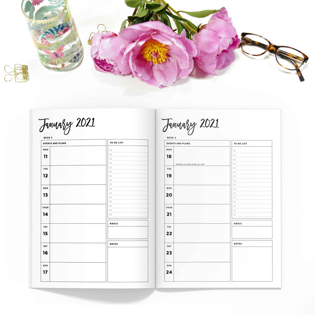 January - June 2021 Weekly Planner TN, Spring/Summer-Travelers Notebook-Weekly planner TN to fit 10 different traveler's notebook sizes, including A5, Half Sheet, Passport, Personal, Pocket, Micro, A6, B6, Cahier, and Standard.-Confetti Saturday