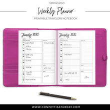 Load image into Gallery viewer, January - June 2021 Weekly Planner Travelers Notebook-Confetti Saturday
