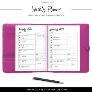 January - June 2021 Weekly Planner Travelers Notebook-Confetti Saturday
