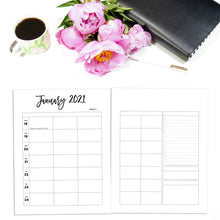 Load image into Gallery viewer, 2021 Weekly Planner 5 Column, Week on Two Pages | City