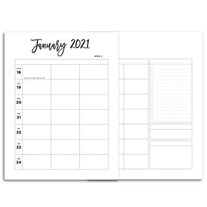 2021 Weekly Planner 5 Column, Week on Two Pages | City
