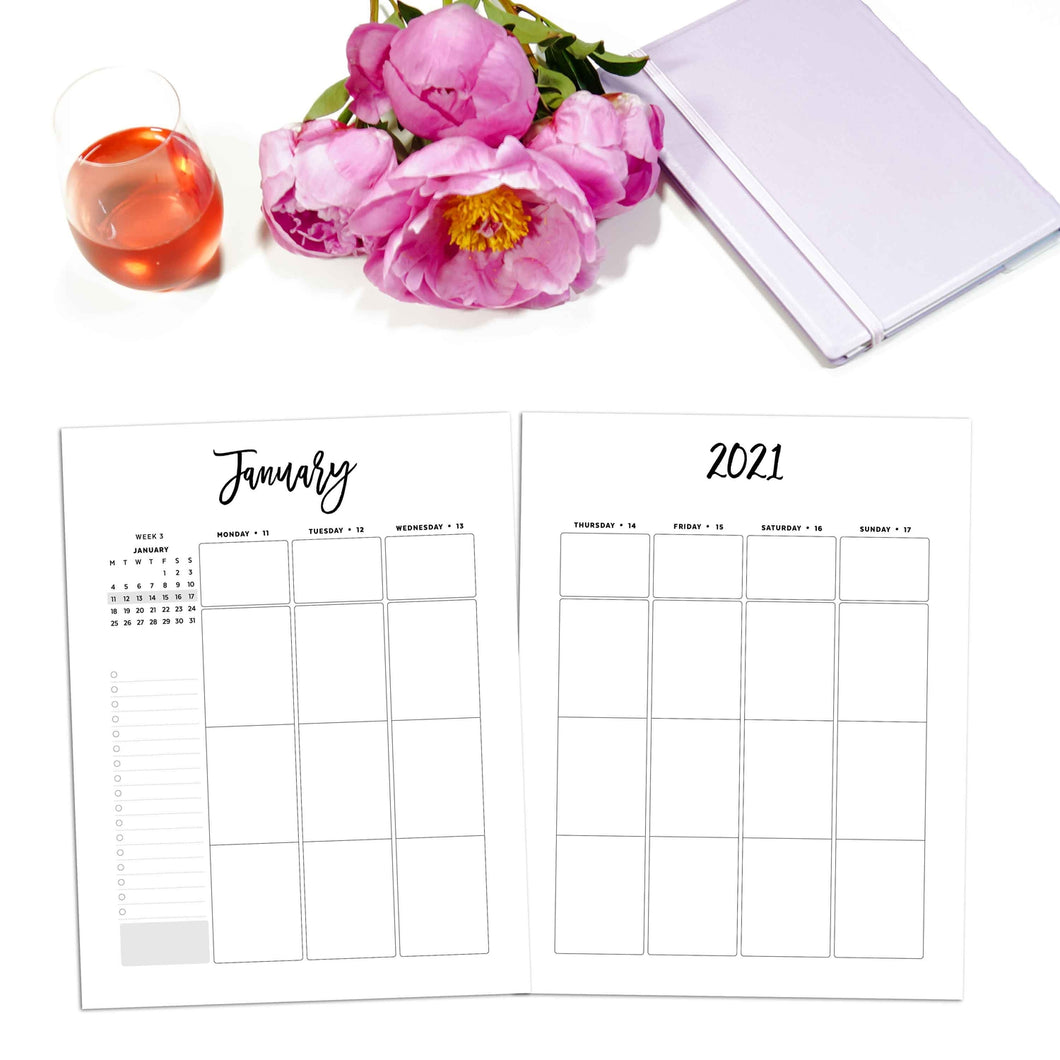 2021 Weekly Planner Vertical, Week on Two Pages | City